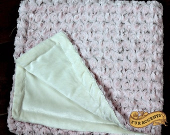 FUR ACCENTS Minky Cuddle Fur Throw Blanket / Reversible / Pink and Ivory Rosebud  Cuddle