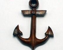 Mens Anchor Necklace, Sono Wood Anchor Pendant, Anchor Pendant, Wooden Pendant, Wooden Anchor Necklace, Hand Carved Wood Anchor,Wood Pendant