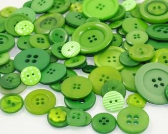 Mixed Button Bag - EMERALD CITY - 50g (2oz) Bag of Pretty Green Buttons