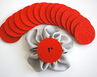 "25 Red Felt 1""  Circles - 1"" Felt Circles - Flower Backing - Red Felt Circles"