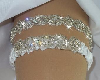 Wedding Garter, Wedding Garters, Rhinestone Garter Set, Bridal Garters,