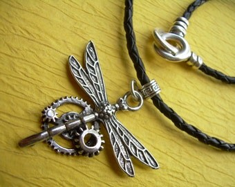Firefly Necklace, Leather Necklace, Steampunk Necklace, Womens Necklace, Womens Jewelry, Fire fly, Steampunk, Gears