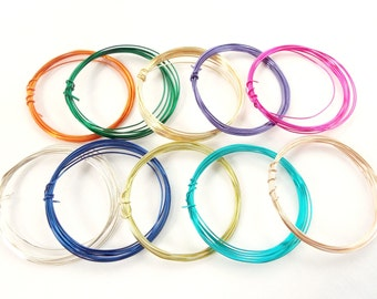 10 Coils Colored Copper Wire, 24 Gauge Coloured Wire, Jewellery Supplies, 1M Coil in 10 Colors, Copper Wire Starter Pack