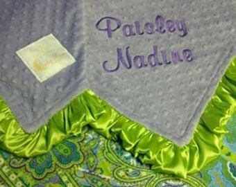 FREE SHIPPING Personalized Baby Blanket with Lavender, Lime, Turquoise Paisley Minky.