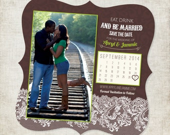 5x5 Save the Date Magnet with Photos and Calendar with lace in Chocolate with Bright Green Accents