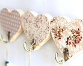 Wooden ornament hanger room decoration ,  gift for her home decor ,  Wood Wall hanging in cream flower and dots