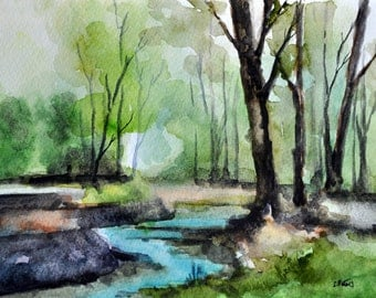 ORIGINAL Watercolor Landscape Painting, Green Park 6x8 Inch