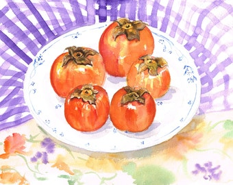 Persimmons on a Plate