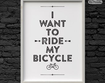 I want to ride my bicycle poster print. Wall art printable. Instant download. Cycling poster gift. Perfect for christmas