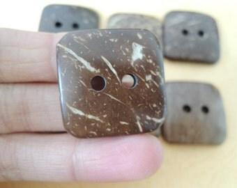 12Pcs 30x30 mm Square Coconut button   Brown (W687)