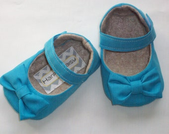 CORA baby girl shoes - blue/ aqua shoes with bow-