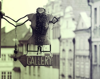 Abstract photography - BANNER,  travel photography, Prague, sign, black and white, fine art photography, wall art, original and unique photo