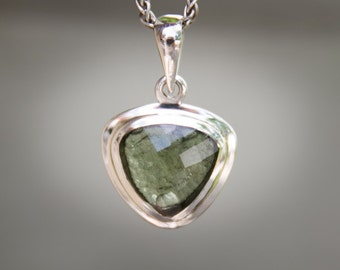 Moldavite Pendant Sterling Silver Faceted and Raw moldavite pendant - Genuine MOLDAVITE pendant