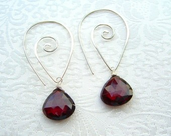 Large Red Garnet Sterling Silver Statement Earrings, Garnet Earrings, Summer