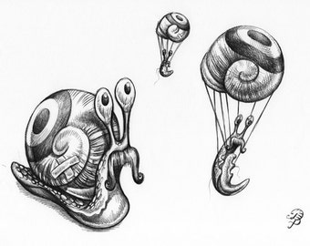 Snails, ORIGINAL pen drawing, FREE shipping