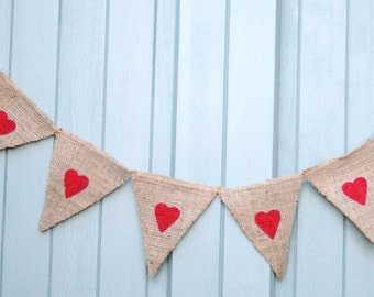 Valentines/Wedding Heart Burlap Bunting