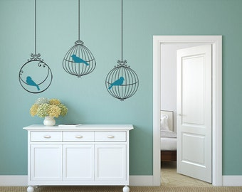3 BIRDS CAGES 6 birds Decals Removable Wall Art 2 colors Vinyl Dinning Living Room Nursery Birdcage Sticker