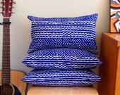 Decorative Deep Blue Bogolan Print Cushion Cover - 50cm x 30cm
