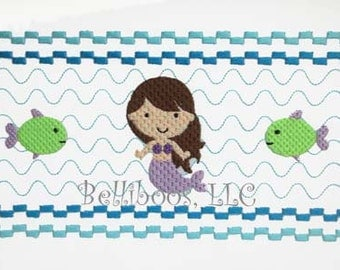 Mermaid Faux Smocking  - Mermaid Embroidery Design - Beach Faux Smocking - Beach Embroidery Design - Summer Embroidery - Girl Embroidery
