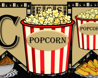 Movie Night Concessions Banner in Gold, Silver and Black with Popcorn End Pieces
