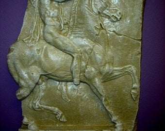 """17"""" Museum Reproduction Greek Roman Soldier on Horse Wall Sculpture Plaque"""