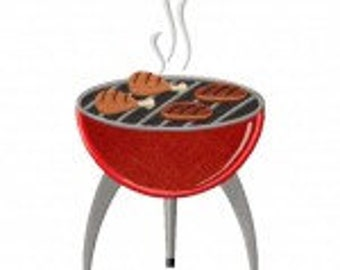 BBQ Grill Includes Both Applique and Stitched