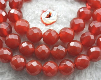 Natural Carnelian faceted round beads 8mm,47 pcs