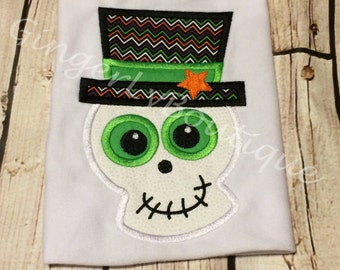 Skull with Tophat Halloween Bodysuit or Shirt, Skeleton Shirt, Trick or Treat, Halloween, Skeleton, Skull Shirt, Halloween Shirt