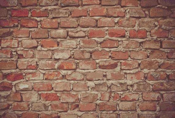 Brick Wall PDF Cross Stitch Pattern