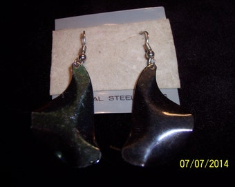 Abstract Dark Iridescent Metal Earrings #219