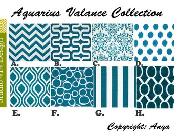Blue Valance. Aquarius Valence.  Aquarius valance.  Aquarius window Treatment. Aquarius Drapery . Aquarius Valance window curtain.
