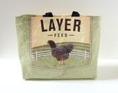 Eco Market Resuable Shopping Tote Bag Upcycled Chicken Feedbag Eco Friendly Green Farm Earth Day Recycled Beach Bag Storage Container
