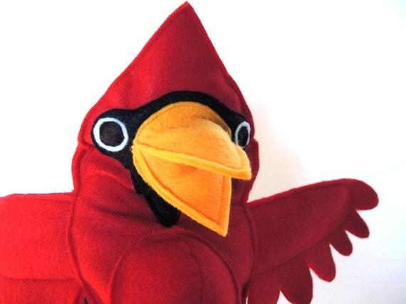 Hand Puppet Red Cardinal Bird Kids Christmas Tree Topper