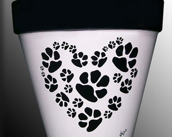 Dog or Cat Paws in a Heart-Shaped Pattern