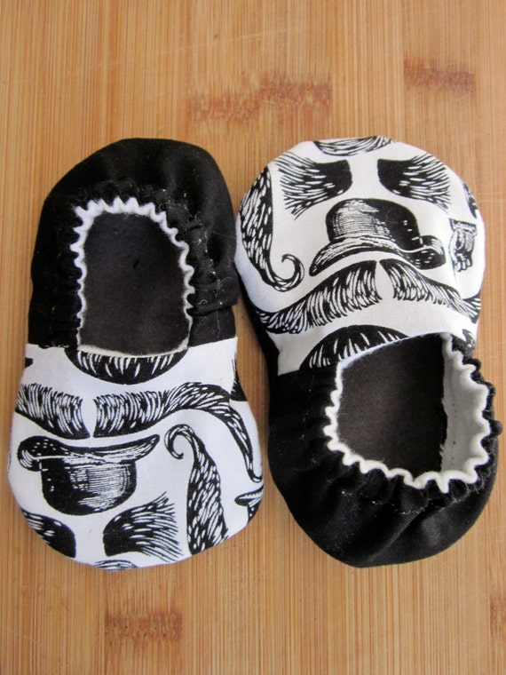 Unisex mustache baby shoes, Hipster baby shoes, steam punk baby shoes,old timey, cloth shoes, baby slippers, baby boy,baby girl hipster ,