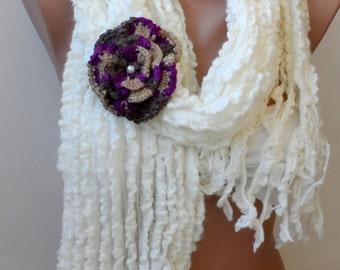 Cream scarf, Winter scarf, Crochet, fashion scarf, mother's Gifts, Handmade scarf, Women scarf, Cowl scarf, soft scarf, long scarf, elegance
