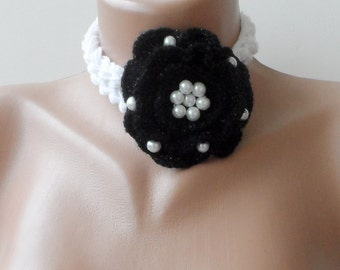 Rose scarf, Bridesmaid scarf, Black rose scarf, flower scarf, Scarflette, crochet flower scarf, summer scarf,elegancescarf, necklace scarf