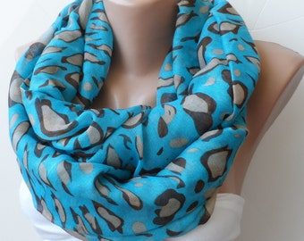 valentine's day scarf, Blue infinity scarf, leopard scarf, infinity scarf, circle scarf, elegancescarf, gifts for her, blue scarf, fashion