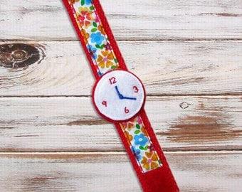 Toy Watch - Toddler, Girls - Play Watch - Felt - Pretend Play - Red - Handmade
