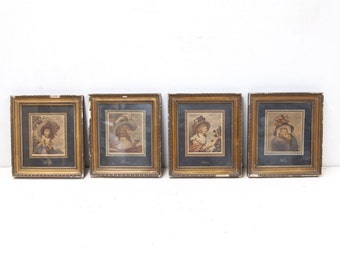 Vintage Set of Four American Prints Depicting The Four Seasons