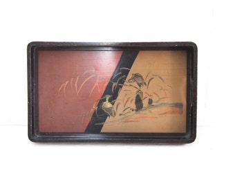 Japanese Lacquer Serving Tray  with Two Crains in Landscape