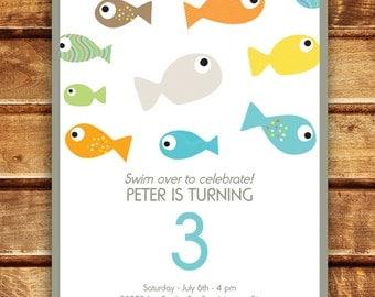 Super Cute Fish Party Boy or Girl Birthday Invitation!