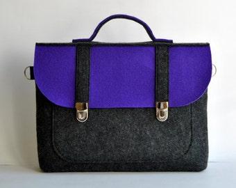 Felt laptop bag 17 MacBook AIR urban bag with a pocket purple gray felt Common Laptop Bag satchel Briefcase