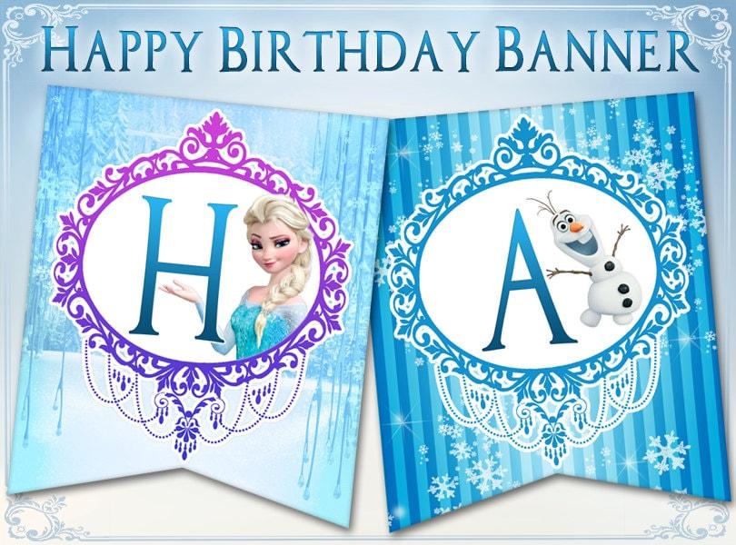 frozen birthday banner happy birthday banner bunting disney