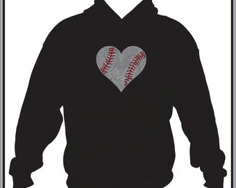 Baseball Mom Hoodie/ Baseball Mom Sweatshirt/ Baseball Mom Clothing/ Baseball Mom Gift/ Rhinestone Large Baseball Heart Hoodie Sweatshirt