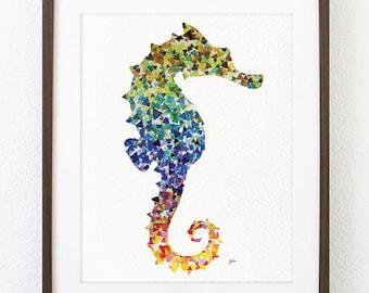 Seahorse Painting Watercolor Art - 8x10 Archival Print - Geometric Seahorse, Colorful Sea Print, Housewares, Wall Decor Art Home Decor, Gift