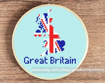 Great Britain map - PDF counted cross stitch pattern - Patriotic