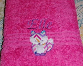 Monogrammed and Appliqued Fox  Bath Towel