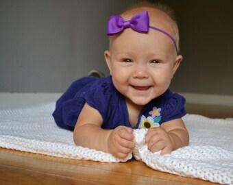 Baby Headband - Baby Bow Headband - Bow Headband - Newborn Headband - Purple Bow Headband - Purple Headband - Toddler Headband