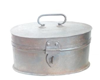 Vintage Oval Metal Storage Box, Rustic Storage Box